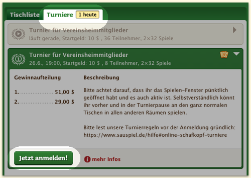 Spielefenster Turniere